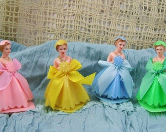 Set of 4 Pretty Little Vintage Bridesmaids - One in Each Color - Pink, Yellow, Blue & Green - Cake Toppers - Cupcake Toppers - Prom Girls