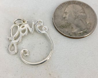 Beautiful sterling silver Love charm holder  - Destash New - MSRP 16 dollars from our supplier - priced to sell