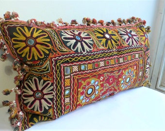Vintage embroidered bolster cushion 1970s Indian Hand embroidered BOTH SIDES, mirror work shells