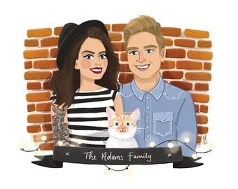 2 People + 1 Pet + Background illustrated custom portrait. Couple family pet portrait, custom illustration, anniversary, birthday gift