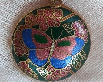 Cloisonne Butterfly Pendant