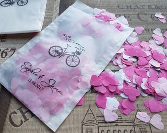 10 x Personalised white Glassine bags for throwing confetti ,wedding favours Romantic Bike love hearts.Handstamped, names and date, sweets