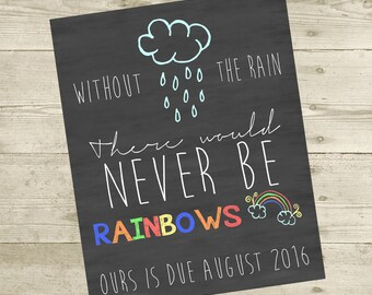 Rainbow Baby Pregnancy Personalized Announcement (8x10) - DIGITAL FILE