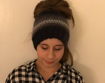 Messy Bun Beanie Ponytail Hat