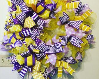 Deco mesh Spring Wreath, Spring Wreath, Yellow and Purple Wreath, Front Door Decor, Mother's Day Wreath