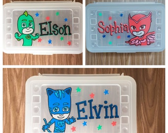 Personalized Pencil Box, custom school supplies storage, back to school, party favors, art supplies