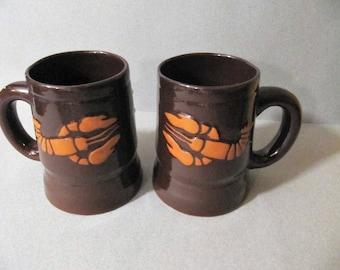Set of 2 large  lobster mugs from soviet era