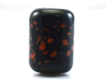 Coral Dots on Midnight Blue Handmade Glass Lampwork Bead