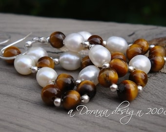 SNOW In The DESERT - Pearl, Tiger's Eye, & Sterling Silver Woven Chandelier Earrings - Handmade by Dorana