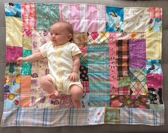 Modern Patchwork Baby Quilt, Handmade Baby Quilt, Nursery Decor, Baby Shower Gift