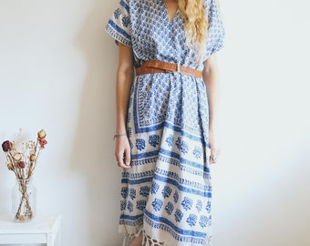 Vintage 70s Kaftan, 70s Dress, Boho Tunic, Indian Cotton, Retro Tunic, Bohemian Clothing, Indian Block Print