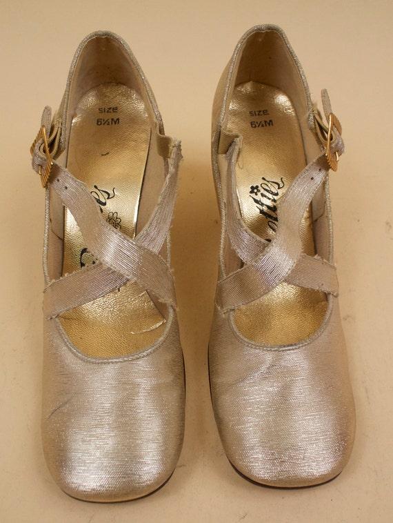 Baby Eu Doll Up 36 CROSS Gold GoGo Heel Metallic 37 Chunky Pin Mary 5 CRISS 60s Platform PRETTIES 5 Mod Vtg Lurex 6 Jane RTx818