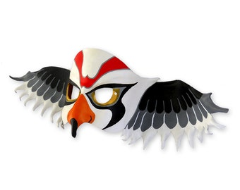 Kestrel Bird Leather Mask Halloween Animal Falcon Hawk Birds Black White Red Wings Gift Carnival Party Kids Boys Girls Children Adults