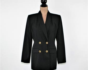 90s Double Breasted Blazer Black Jacket Women Medium Long Blazer Fitted Size 8 Jacket Gold Buttons 1990s Vintage Clothing Womens Clothing