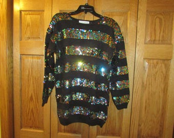 Women's Glittered Sweater, Size Large