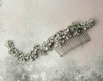 Swarovski Bridal Headpiece, Silver Hair Vine, Bridal Hair Comb