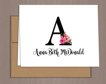 Initial Note Cards, Initial Folded Note Cards, Thank You Notes, Thank You Cards, Personalized Stationery, Folded Note Cards, Monogram