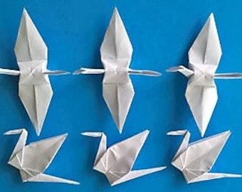 """100 Large White Origami Paper Cranes-Origami Cranes-Paper Cranes-Wedding Decor-Wedding Backdrop-Origami Wedding-Japanese Wedding-5.5"""" White"""