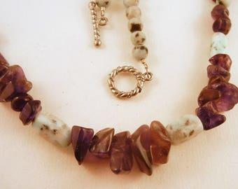 Amethyst Necklace: Natural Crystal kiwi jasper Stone Jewelry