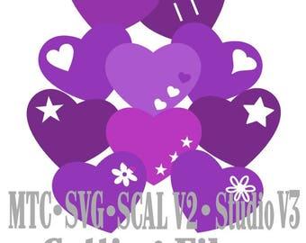 SVG Cut File Heart Design Set #02 Wedding Love Valentine Cutting Files Cricut MTC SCAL Cameo