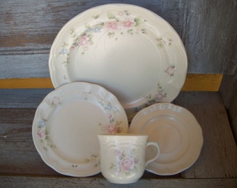 Pfaltzgraff - Dishes - Tea Rose Pattern - Set of 4 pieces & Rose pattern dishes   Etsy