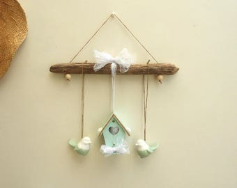 Wall decoration country chic decor-Driftwood - decoration - spring birdhouse wood bird-gift for mothers day