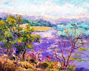 Original Landscape, Oil painting, Lavender Fields, Provence Lavender, Impressionist Landscape, Palette Knife Oil painting - ca.7x10 inch SFA