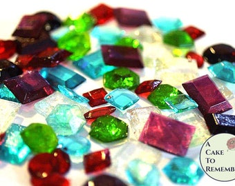 50 edible sugar gems for cake bling. Assorted shapes. Edible jewels, edible diamonds and other shapes of jewels for treasure chest cakes