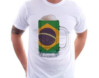 Brazil Country Flag Beer Mug Tee, Home Tee, Country Pride, Country Tee, Beer Tee, Beer T-Shirt, Beer Thinkers, Beer Lovers Tee, Fun Tee