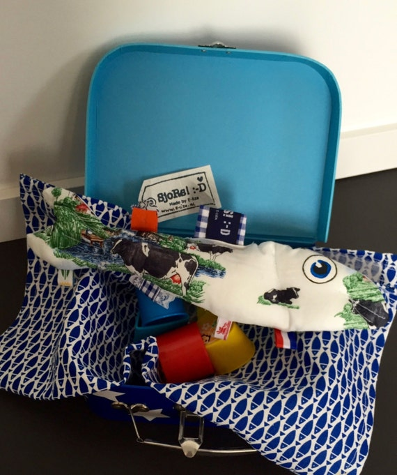 Outlet! -40% The Dutch Herring tag sensory toy, stuffed toy fish with Holland themed ribbons and a crinkle fin. A great baby shower gift.