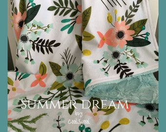 Summer Dream Baby Blanket, Double Minky Blanket, Aqua and Coral Blanket, Big Floral Crib Bedding, Minky Baby Bedding, Summer Dream Bedding