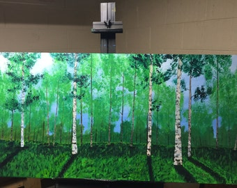 Abstract Forest Painting on Canvas