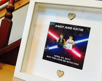 Star Wars Wedding Gift - Brick Frame (Han Solo & Leia)