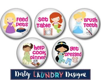 Magnetic Chore Chart Buttons. Kids Chore Chart Magnets Princess Theme