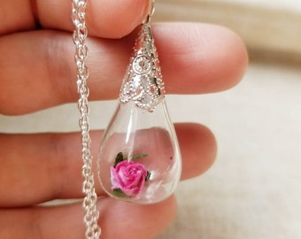 Paper Rose in a Miniature Tear-shapped  Bottle Necklace