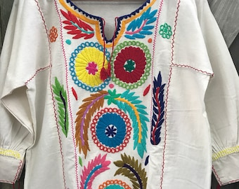 Mexican Blouse, Rococo Manta Multicolor Embroidered Blouse