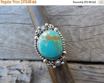 ON SALE Beautiful turquoise ring handmade in sterling silver with turquoise from the Royston mine