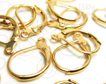 last stock -50% / D407GDAF / 48Pc / 15mm x 10mm - Gold Plated Lever Back Earrings Findings.