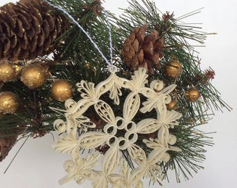 Beautifully Quilled Snowflake/ Hand Made Christmas Ornament