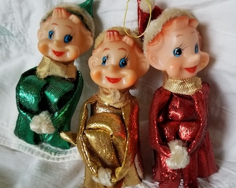 3 Vintage Christmas Knee Huggers Elf/Pixie Large Gold Red Green Metallic SHINY