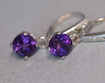 Amethyst Earrings - Genuine Amethyst Sterling Silver Leverback Earrings - 7mm - Large Size