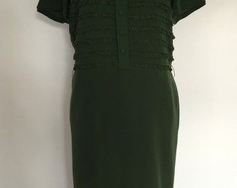 A Stunning Vintage 1960s 'DORVILLE' Dark Bottle Green Two Piece Wool Dress Suit with Lace Frill Detail