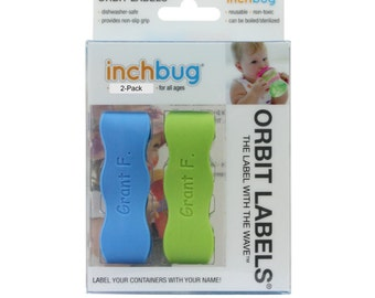 Personalized Labels for baby bottles and sippy cups by InchBug  Lion/Monkey and Bus/Plane (KiwiGreen and SkyBlue 2-PACK)