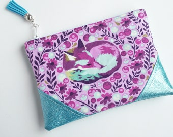 Fox Blue Glitter Mini Zip Pouch, Coin Pouch, Coin Purse, Gift Card Holder, Gifts for Her, Gifts for Teens, Wristlet