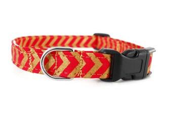 Red and gold chevron dog collar, red dog collar, chevron collar, cute dog collar, red and gold zigzag collar