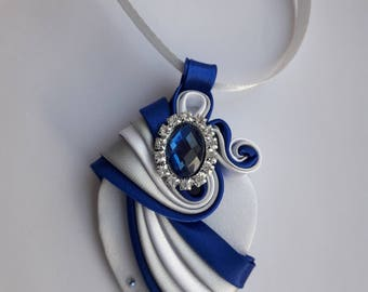 Blue grey white satin ribbon pendant