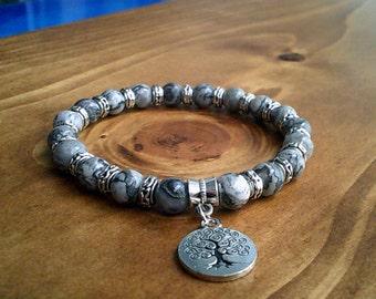 Tree of Life Beaded Landscape Bracelet, Stretch Bracelet, beaded Bracelets, Natural Healing Reiki Bracelets, Positivity Bracelets UK