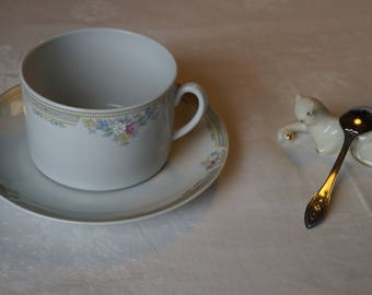 Cup porcelain French, handcrafted, table, classic art.
