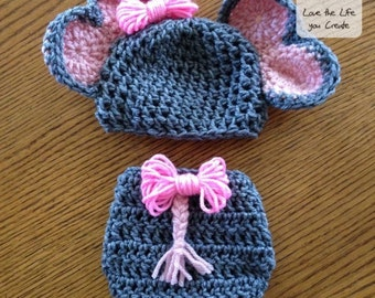 Baby Elephant Crocheted Hat and Diaper Cover Different Sizes and Gender Available