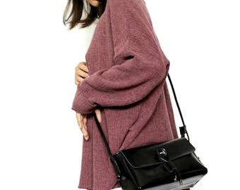 Black leather crossbody bag, Black small messenger bag , Leather shoulder bag , Black crossbody purse